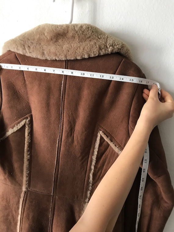 Warm Coat Sheepskin Fur Genuine Women's Long Extra Vintage And Size Comfy Elegant Small Brown nwTqXY8qI