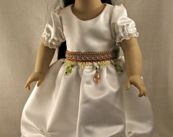 White Easter or Special Occasion Dress and Belt for American Girl