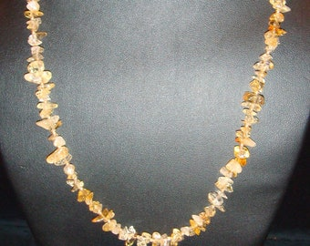 Citrine Nugget Necklace and Pierced Earring Set