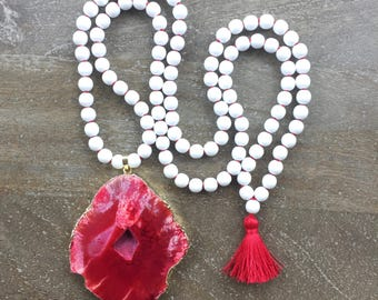 CLEARANCE Red and White Mala