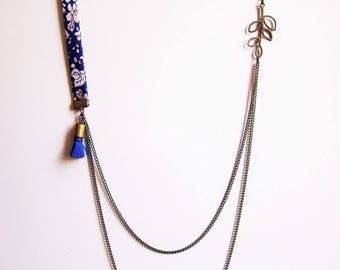 Liberty necklace double chain shades of blue cobalt and blue tassel