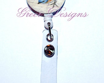 Blue bird Bluebird Pansy Teacher Designer Gift Retractable ID Badge Holder Reel Clip