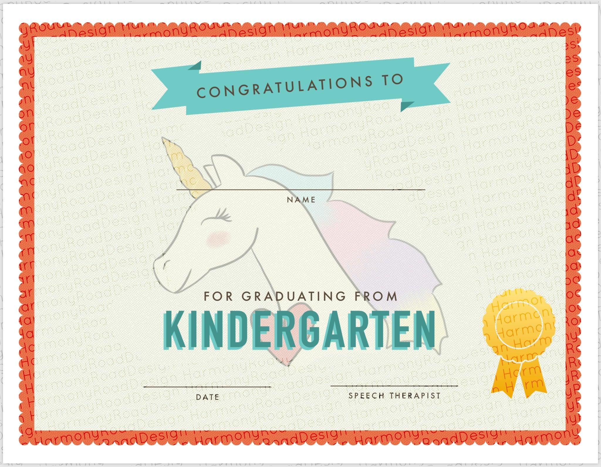 Kindergarten Graduation Certificate Template girls unicorn
