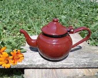 Bouilloire en tôle émaillée, émaillé de Pot à café, petite théière marron, petite théière en émail, décor de cuisine rustique, Enamelware soviétique, fabriqué en URSS