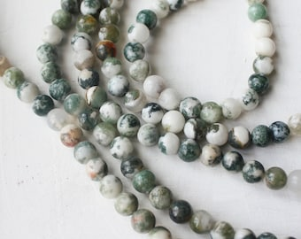 6mm Tree Agate, Round Natural Gemstone, Yoga Jewelry Supply, Green Beads, Nature Beads,