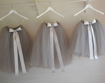 Tutu, girls tutu, flower girl tutu, flower girl dress, grey tutu, bridesmaid tutu, adult tutu, wedding tutu, silver grey tutu, tulle skirt
