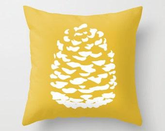Modern Pinecone Throw Pillow  - Mustard Yellow - Fall Decorative Pillow - Home Decor - By Aldari Home