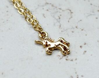 Tiny Unicorn Necklace, Small Gold Unicorn Charm Magic Golden Pendant, Whimsical Magical Jewelry