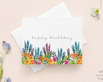 Carte Happy Birthday avec enveloppe / Bonne Fête en anglais, Illustration de fleurs, Carte de souhait sans texte à l'intérieur, Anniversaire