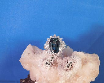 6.05 Ct. Oval Tourmaline and Sapphire Sterling Silver Ring