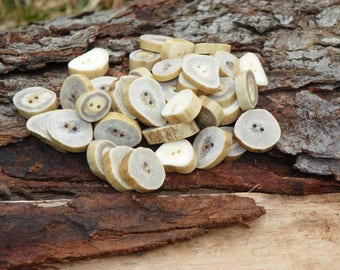 Buttons, Natural Whitetail Deer Antler Buttons, Bone Buttons, Lot of 10, Rustic Sewing, Woodland Decorative Natural Crafting, Eco-Friendly