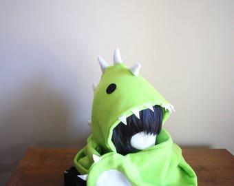 Dinosaur Hoodie Scarf | Green Scoodasaurus | Dinosaur Hat | Dinosaur Scarf | Dinosaur Costume