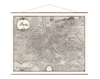 "Vintage Paris Map, 36""x44"", Canvas Map, old map, large canvas wall map, vintage maps, pictorial map of paris, paris 1734, detailed paris map"
