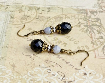 Black Earrings, Gray Earrings, Grey Earrings, Victorian Earrings,Czech Glass Beads, Unique Earrings, Dressy Earrings, Formal Earrings, Gifts