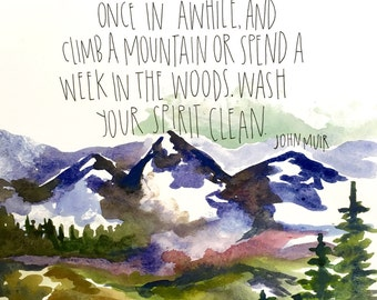 Mountains watercolor print 11x15in