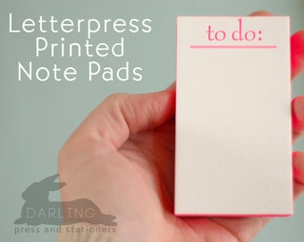 Letterpress Printed and Edge Painted Note Pads