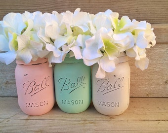 Shabby Chic Nursery Decor, Shabby Chic Home Decor, Painted Mason Jars,  Country Chic