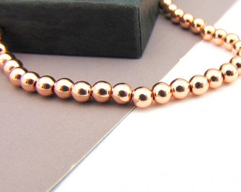 4mm Rose Gold Hermatine Beads,  Rose Gold Beads Jewellery Supplies