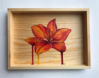 Reclaimed Wooden Box: Lily drips