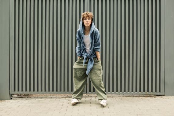 women pants linen trousers linen gray pants Linen Baggy harem linen Pants pants clothing green Woman Olive Green men Man linen handmade aqTwgT