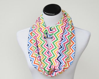Raindow scarf, Chevron scarf, infinity scarf multi color colorful rainbow stripes scarf pink blue green yellow orange for mom & teen girl