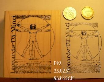 Vitruvian man by Leonardo da Vinci drawing rubber stamp P92