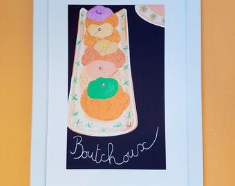 "Poster French ""Choux"" Parisian pastries / Kitchen design"