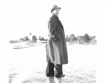 "Vintage Snapshot ""Balancing Act"" Smiling Young Man Standing On Pilings Boat Dock Found Vernacular Photo"