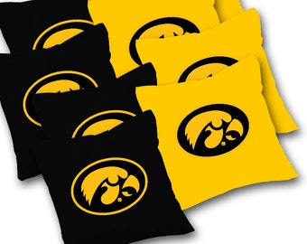 Officially Licensed Iowa Hawkeyes Cornhole Bags Set of 8 - Top Quality - Regulation Cornhole Bags - Bean Bags