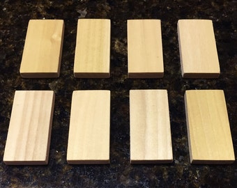 Blank Domino Wood Rectangle Tiles, 2 inch x 1 inch, Unfinished Hardwood, for Arts, Crafts, Jewelry