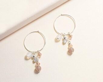 Soft Floral Cluster Hoop Earrings /  Silver Hoop Earrings / Dangle Earrings / Drop Earrings / Small Hoop Earrings / Sterling Silver Earrings
