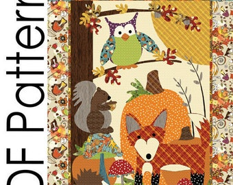 A Walk in the Woods Applique Quilt PDF Pattern