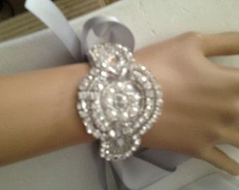 wedding bracelet bridal Rhinestone bracelet applique cuff bracelet pearl satin ribbon bracelet silver ivory ribbon bracelet wedding cuff