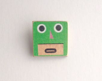 Green Robot Pin