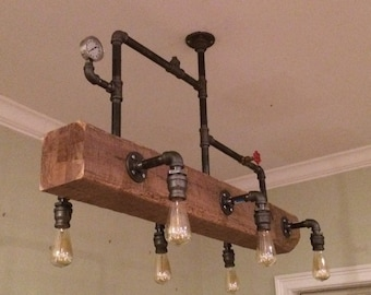 Industrial Chandelier // Steampunk Lighting // Modern Chandelier // Edison Bulbs // Dining Room Lighting // Pool Table Light