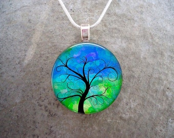 Tree Jewelry - Glass Pendant Necklace - Tree of Life Jewellery - Tree 20