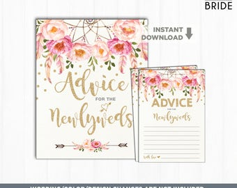 Advice for the Newlyweds Bridal Shower Activity. Pink and Gold Floral Wedding Advice Cards & Sign. Gold Glitter Confetti Bridal Game. FLO12A