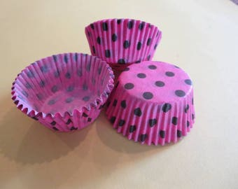 48 Hot Pink and Brown Polka Dot  Muffin Cupcake Liners Cups Baking Supplies Jenuine Crafts
