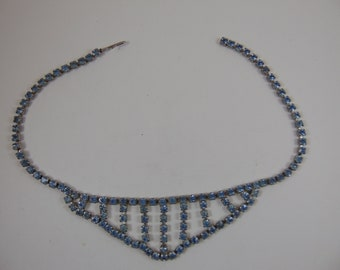Vintage Pale Blue Rhinestone Collar Choker Necklace