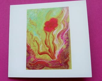 """""""Secret flower"""" card, greeting card with its envelope."""
