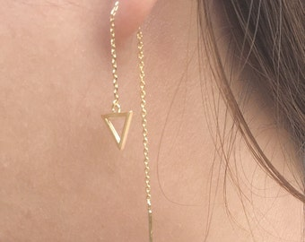 Dainty threader earrings | triangle threader earrings | gold threader earrings