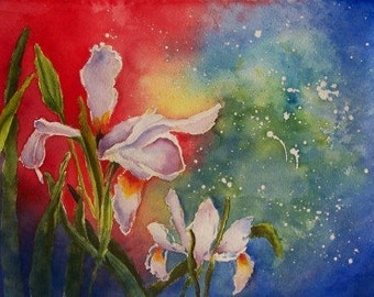 Abstract Aceo Limited to 8 Exploding Iris