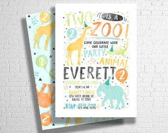 Two Is A Zoo Birthday Invitation   Party Animal Invitation   Zoo Animal Birthday Invitation   Wild Invitation   DIGITAL FILE ONLY