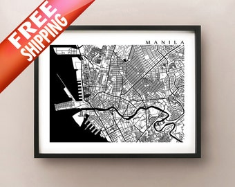 Manila Map, Philippines Art Poster Print - Black and White