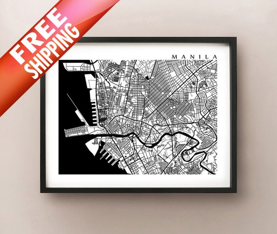 Manila map philippines art poster print black and white publicscrutiny Images