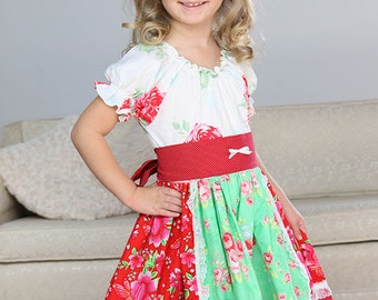Girls twirl dress, peasant dress, red green white dress, floral dress, christmas dress, holiday season, spring dress, everyday dress