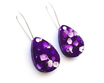 Baby Drop Earrings - Each To Own Original - Amethyst Purple Glitter - Laser Cut Drop Earrings