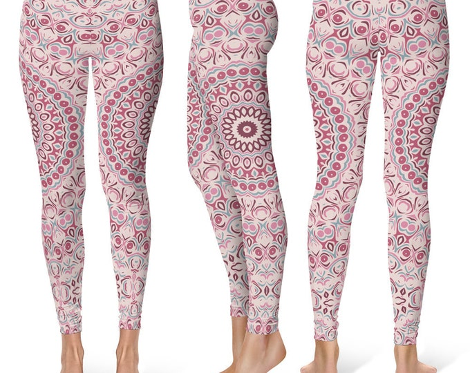 Yoga Pants Pink, Womens Yoga Leggings, Print Leggings, Antique Pink Mandala Print Pants, Stretch Leggings, Stretch Pants Women