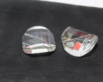 Faceted Czech Crystal 8 Sided Crystal Bead 9x19mm 2pcs