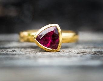 Pink Tourmaline 14k Gold Size 6 Engagement Ring -  Rubellite Tourmaline - Tourmaline Ring Size 6 - Pink Tourmaline - 14k Gold Rubellite Ring